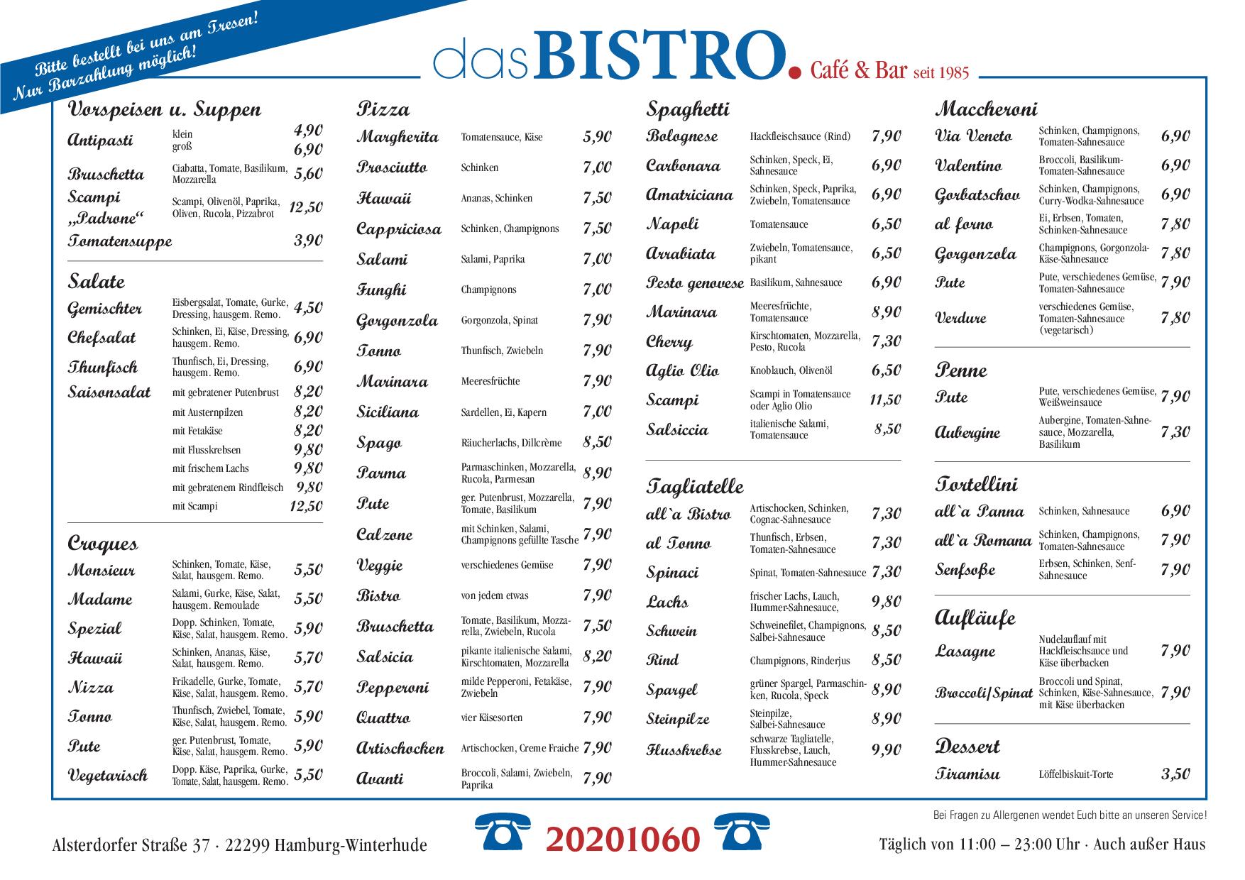 Cafe A Bistro Menu